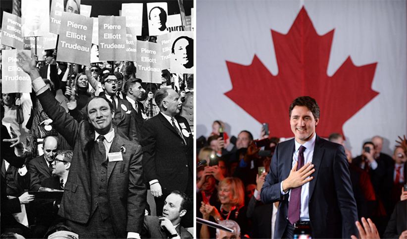 R: Pierre Trudeau waves to the crowd of supporters after winning the Liberal Leadership, April 6, 1968. (Chuck Mitchell/CP); L: Justin Trudeau is seen on stage at Liberal party headquarters in Montreal after winning the 42nd Canadian general election. (Sean Kilapatrick/CP)