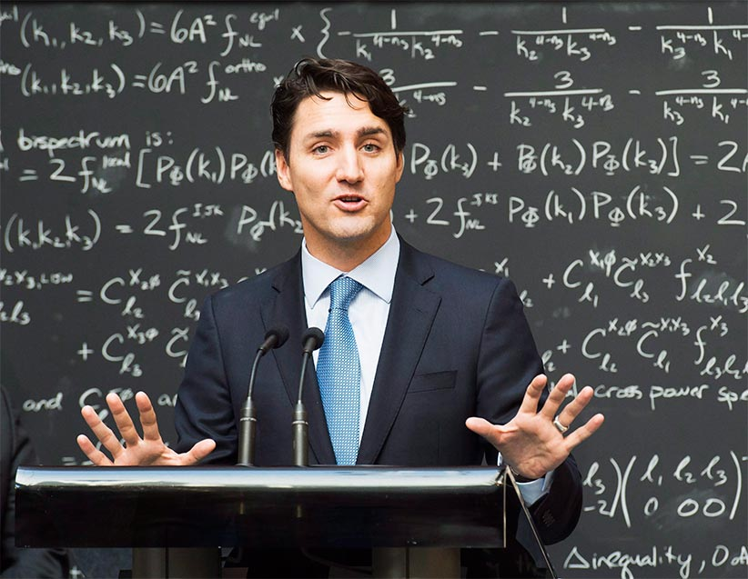 Prime Minister Justin Trudeau makes an announcement at the Perimeter Institute for Theoretical Physics in Waterloo, Ont., on Friday, April 15, 2016. (Nathan Denette/CP)