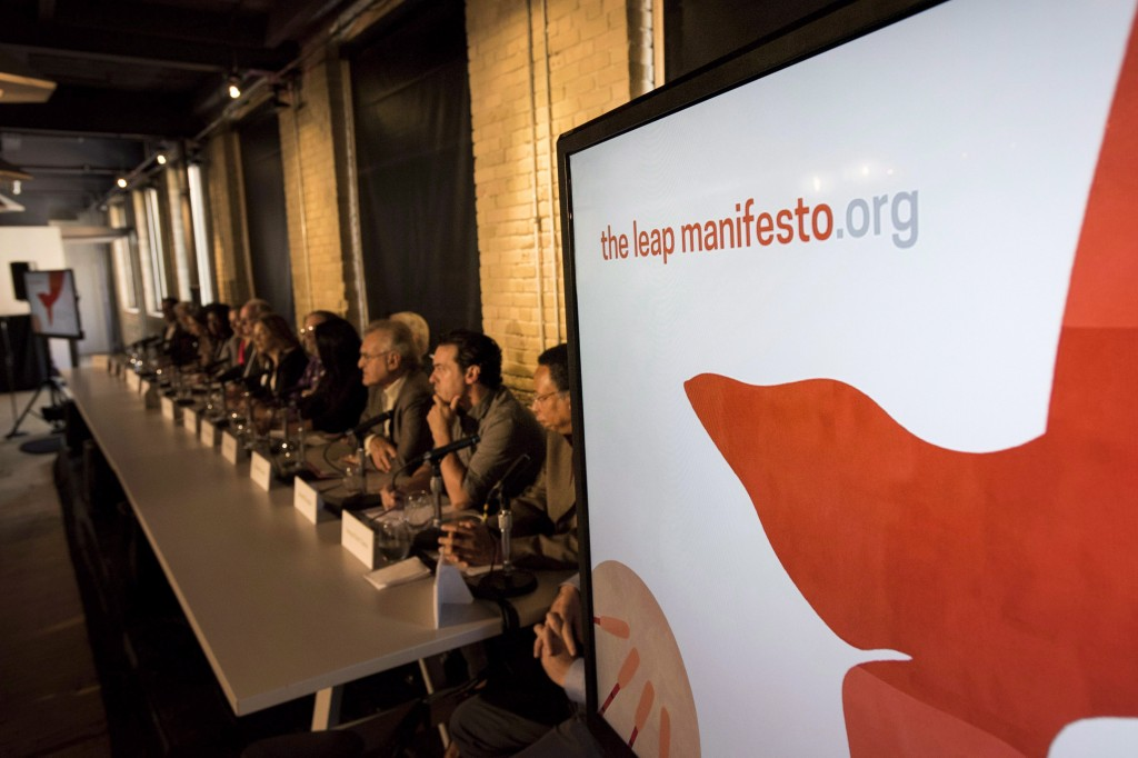 Actors, activists, and musicians launch the Leap Manifesto outlining a climate and economic vision for Canada during a press conference in Toronto on Tuesday, September 15, 2015. THE CANADIAN PRESS/Darren Calabrese