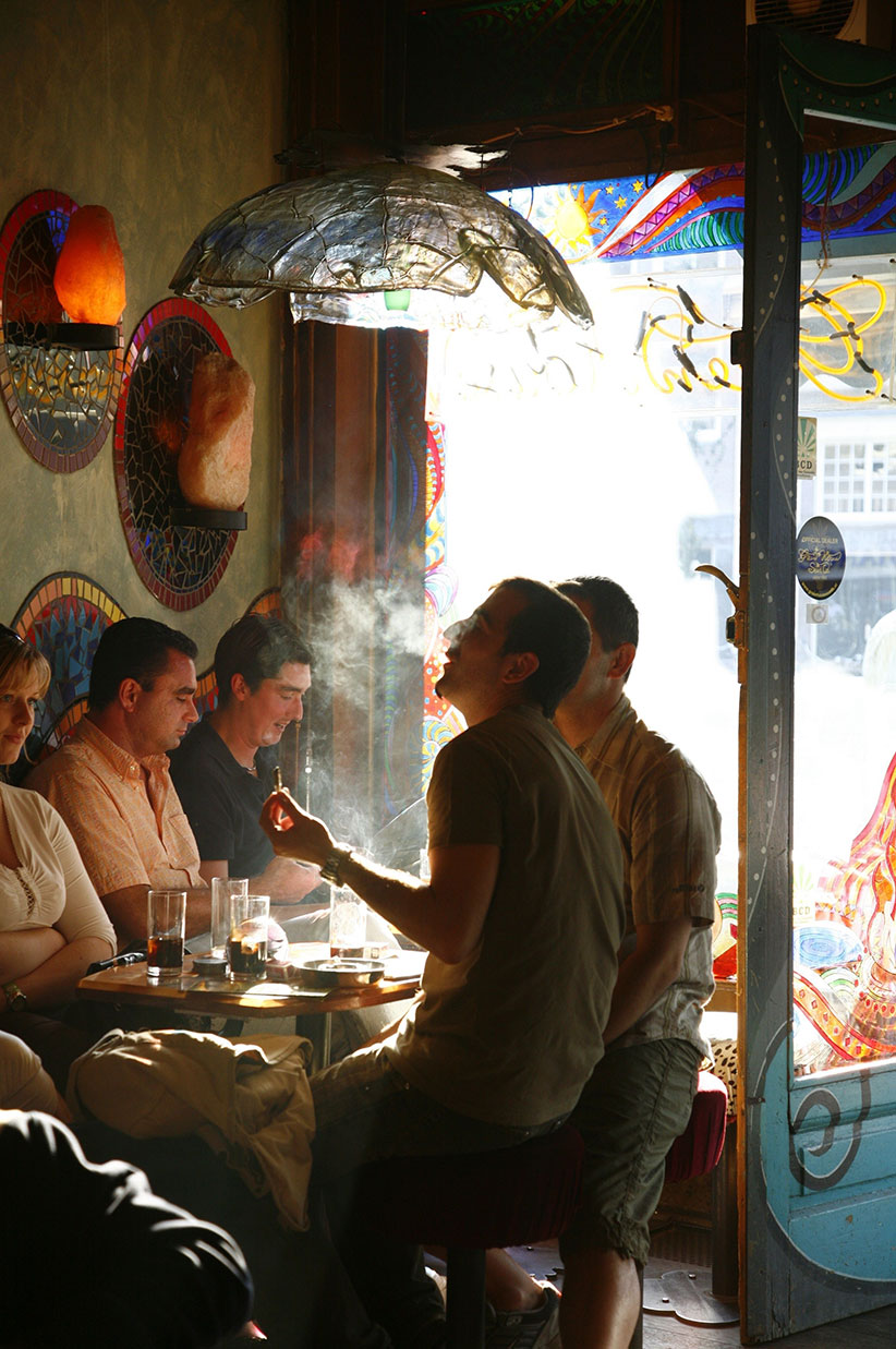 NETHERLANDS / Holland / Amsterdam / People sitting inside a Coffee shop, smoking joints. Yadid Levy/Anzenberger/Redux