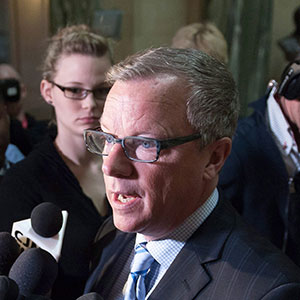 Brad Wall speaks to media one day after the Saskatchewan Party's electoral victory at the Legislative Building in Regina, Saskatchewan on Tuesday April 5, 2016. Michael Bell/CP