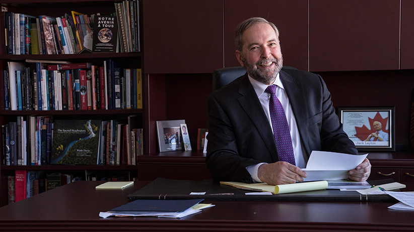 NDP leader Thomas Mulcair in his Montreal riding office. (Photograph by Roger LeMoyne)