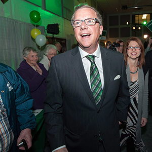 Brad Wall and his wife Tami arrive at the Saskatchewan Party victory celebration at Palliser Pavilion in Swift Current, Saskatchewan, on Monday, April 4, 2016. (Michael Bell/CP)