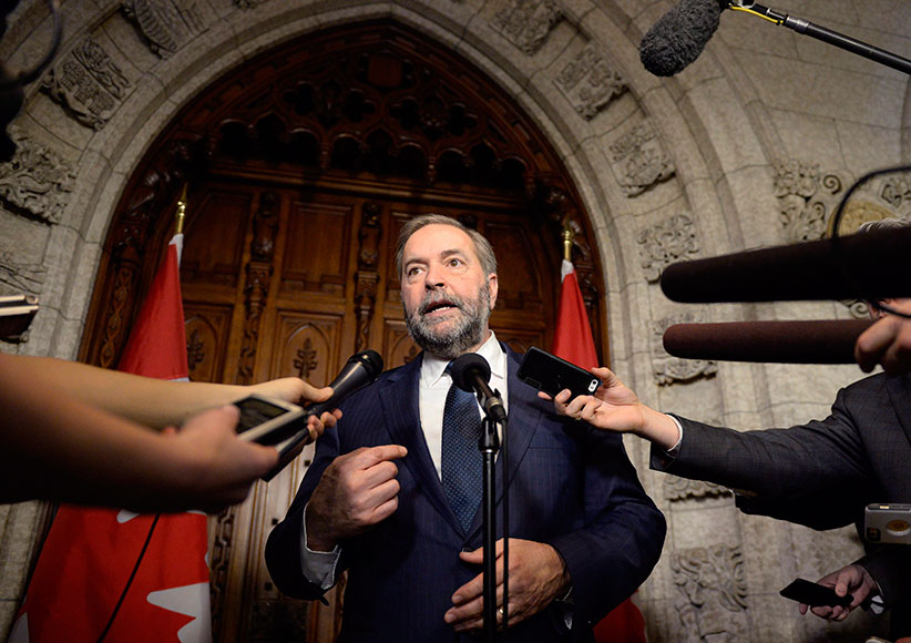NDP leader Tom Mulcair speaks to reporters about the federal budget on Parliament Hill, Tuesday, March 22, 2016 in Ottawa. (Justin Tang/CP)