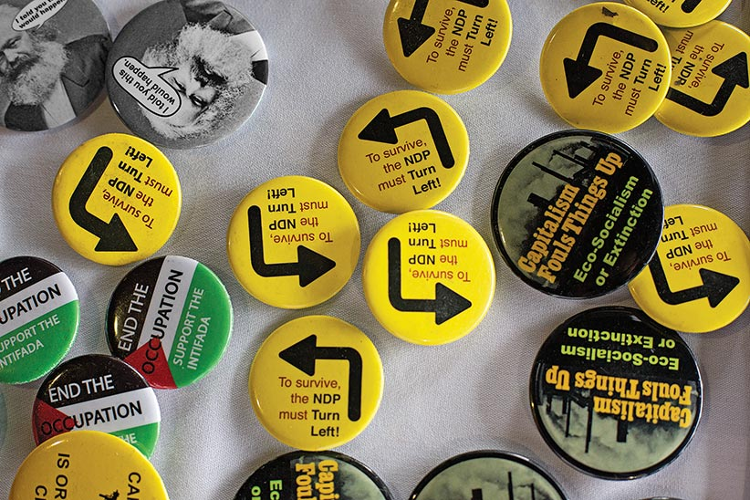NDP buttons at the 2016 NDP Federal Convention in Edmonton, Alberta on Sunday, April 10, 2016.  (Photograph by Amber Bracken)