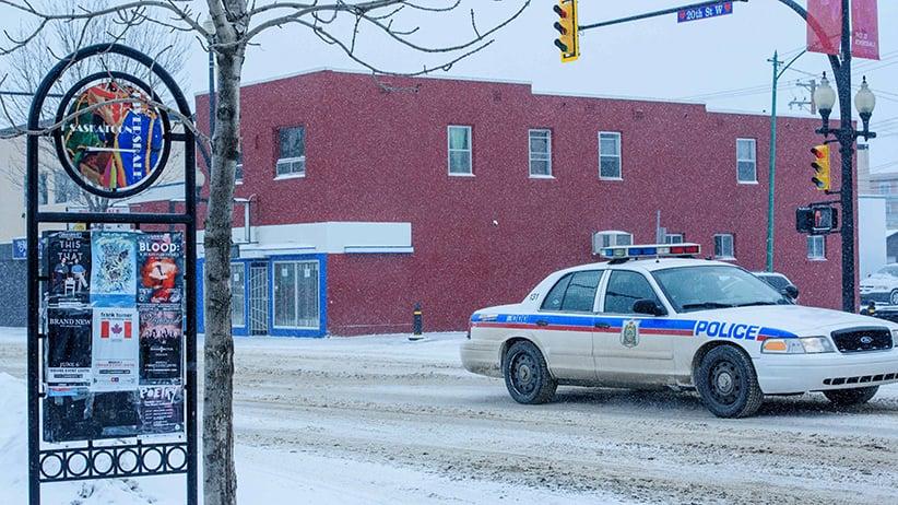 Saskatoon Police patrol 20th Street and Avenue D in the Riversdale neighbourhood of Saskatoon. (Photograph by Derek Mortensen)