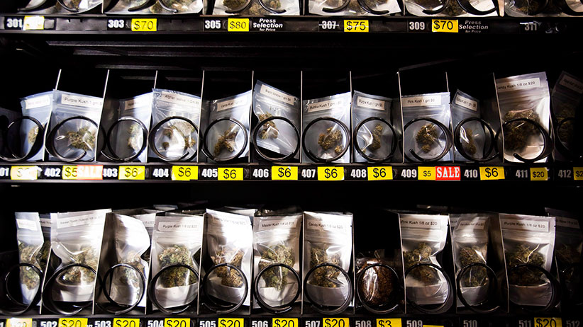 Marijuana is pictured in a vending machine at the BC Pain Society in Vancouver, B.C., on Friday August 29, 2014. The society, which sells marijuana and supplies, is the first of its kind to integrate gift cards to be used at one of their 3 marijuana dispensing vending machines. (Ben Nelms/CP)