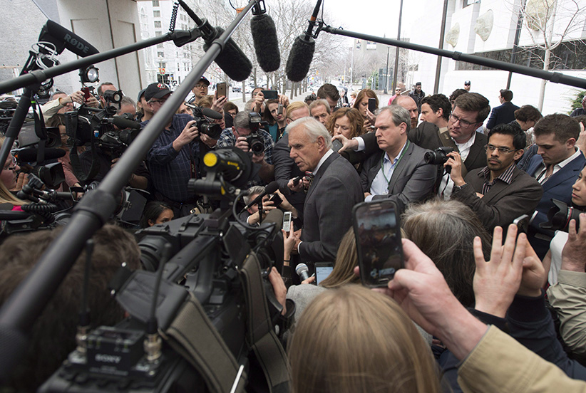 Sen. Mike Duffy's lawyer Donald Bayne speaks with the media after Duffy was acquitted on all charges, Thursday, April 21, 2016 in Ottawa. (Adrian Wyld/CP)