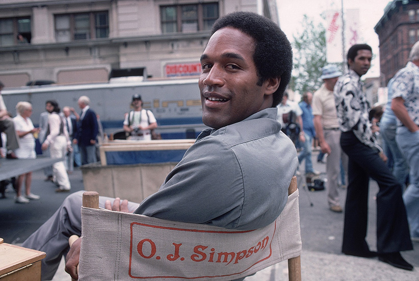 "Closeup casual view of San Francisco 49ers O.J. Simpson on movie set of ""Firepower."" Bridgeport in 1978. (Lane Stewart /Sports Illustrated/Getty Images)"