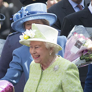 Queen Elizabeth II does a walkabout in Windsor during her 90th birthday celebrations. (REX/Shutterstock/CP)