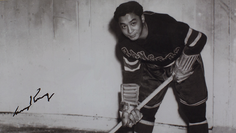 Kwong has the Rangers Number 11 sweater he wore for one game in 1948