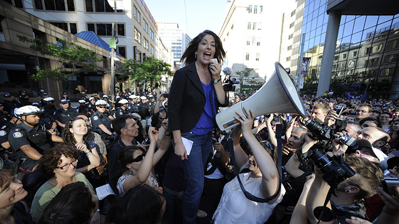 Naomi Klein at a rally during the 2010 G20 Summit in Toronto. (Lucas Oleniuk/Toronto Star/Getty Images)