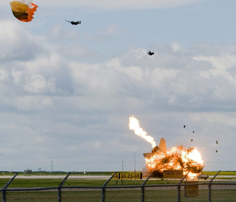 IMaj. Brian Bews ejected to safety during the 2010 Lethbridge air show. (Ian Martens/AP)
