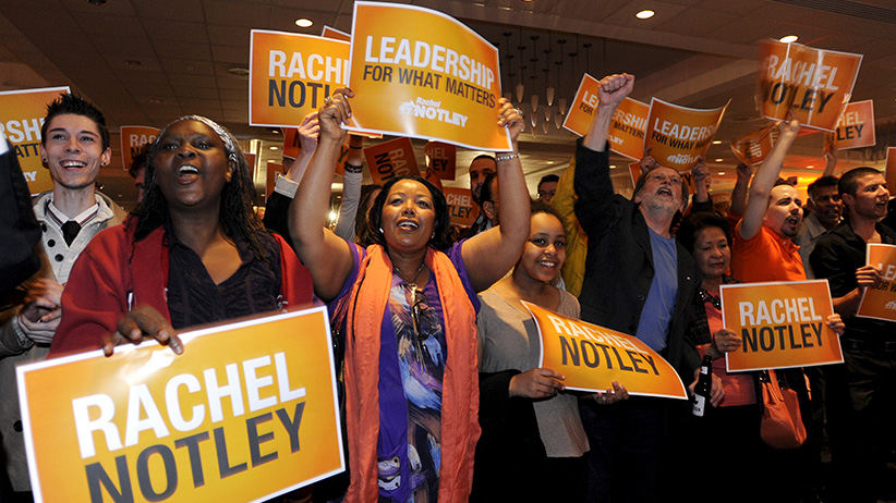 NDP supporters cheer as election results come in during festivities at the election headquarters in Edmonton May 5, 2015. (Dan Riedlhuber/Reuters)