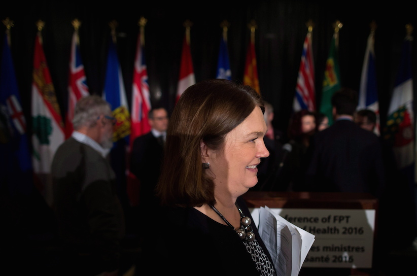 Federal Minister of Health Jane Philpott leaves after a news conference following the final day of a meeting of provincial and territorial health ministers in Vancouver, B.C., on Thursday January 21, 2016. THE CANADIAN PRESS/Darryl Dyck