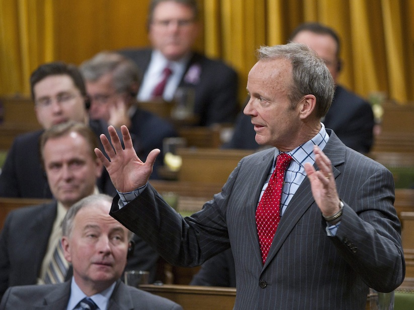Stockwell Day delivers a speech following Question Period in the House of Commons on Parliament Hill in Ottawa on Thursday, March 24, 2011. (Sean Kilpatrick/CP)