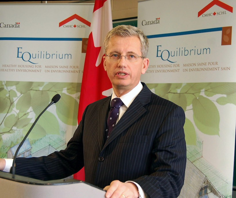 Monte Solberg, then the Minister of Human Resources and Social Development Canada and Minister responsible for Canada Mortgage and Housing Corporation, makes an announcement in 2008. (CMHC)