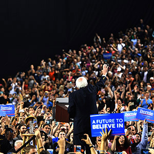 Democratic Presidential candidate Senator Bernie Sanders speaks to a crowd of thousands who attended his A Future to Believe In Baltimore Rally at the Royal Farm Arena in Baltimore, Maryland on April 23, 2016. 