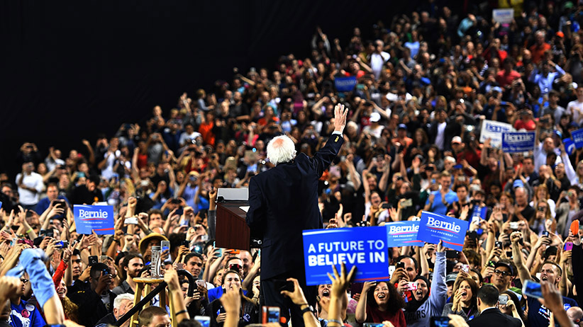 Democratic Presidential candidate Senator Bernie Sanders speaks to a crowd of thousands who attended his A Future to Believe In Baltimore Rally at the Royal Farm Arena in Baltimore, Maryland on April 23, 2016. (Marvin Joseph/The Washington Post/Getty Images)