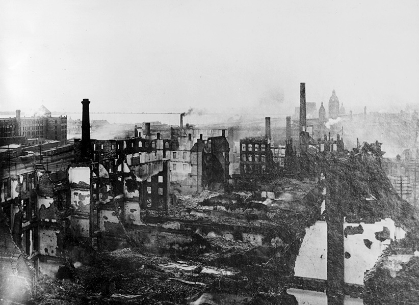 Aftermath of the great fire of 1904 which burned through the night of April 19 in downtown Toronto. About 100 buildings and 220 businesses were gutted, leaving a smoking, 7.9-hectare scar. In a city of 219,000 people, 6,000 jobs were lost. The damage was estimated at $11-million but miraculously, no one was killed. (Alexander Galbraith/Galbraith Collection/CP)