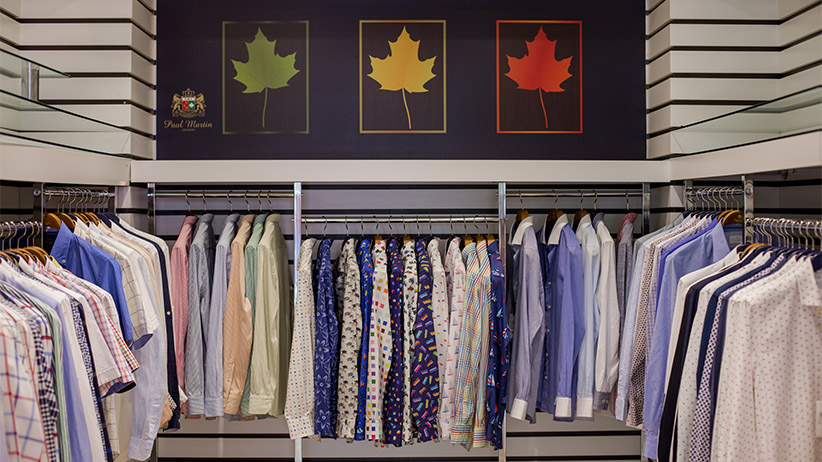 Various shirts on display, with the maple leaf logo above in the Paul Martin showroom on Wednesday, May 18, 2016 in Istanbul, Turkey. (Photograph by Nicole Tung)