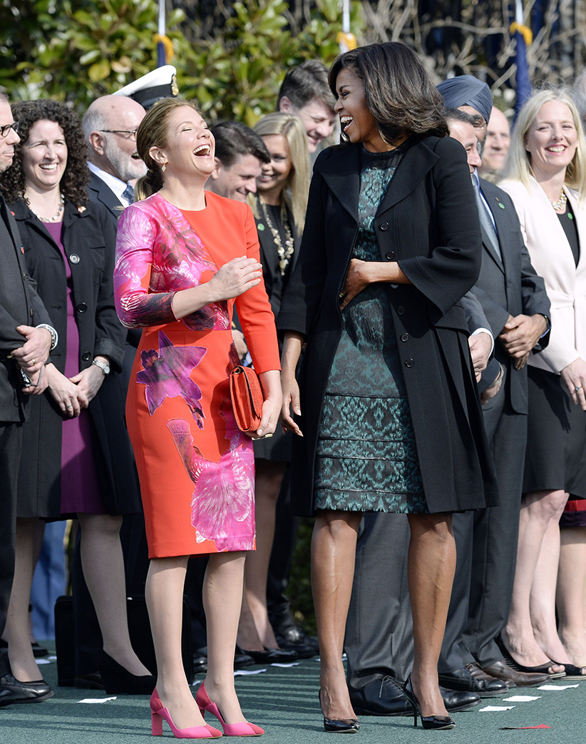 First Lady Michelle Obama and Sophie Grégoire-Trudeau share a laugh during a ceremony at the White House for an Official Visit March 10, 2016 in Washington, DC. This is Trudeau's first trip to Washington since becoming Prime Minister. (Olivier Douliery/Getty Images)
