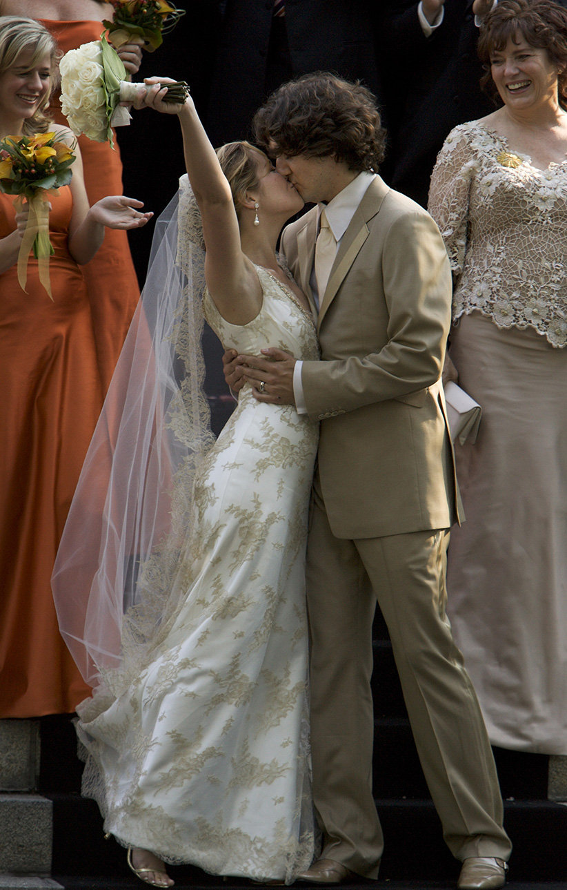 Justin Trudeau and bride Sophie Gregoire leave the Sainte-Madeleine D'Outremont Church, Montreal, after their wedding ceremony here, May 28, 2005. In the back is Margaret Trudeau. (Bernard Weil/Toronto Star/Getty Images)