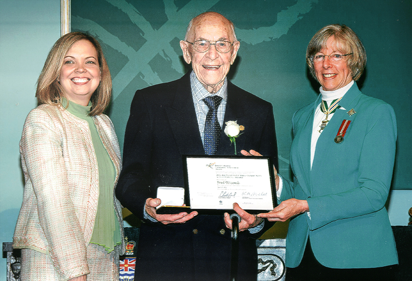 Fred Titcomb winning the Governor General's Award for his volunteering efforts.