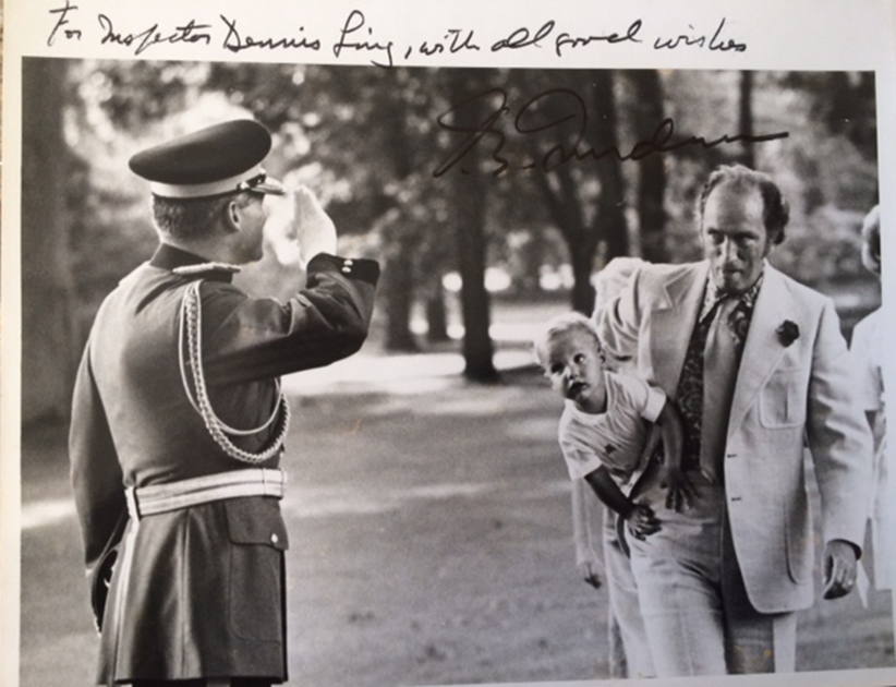 Dennis Ling saluting Pierre Trudeau. (Courtesy Dennis Ling)