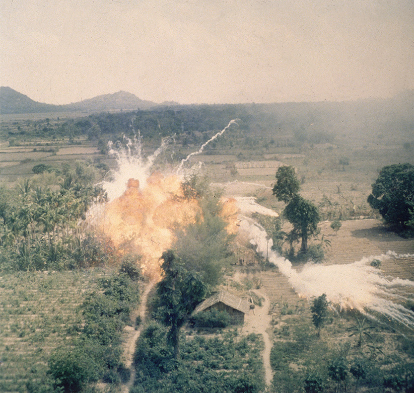 American napalm bombs exploding in fields south of Saigon during the Vietnam war. (Hulton Archive/Getty Images)