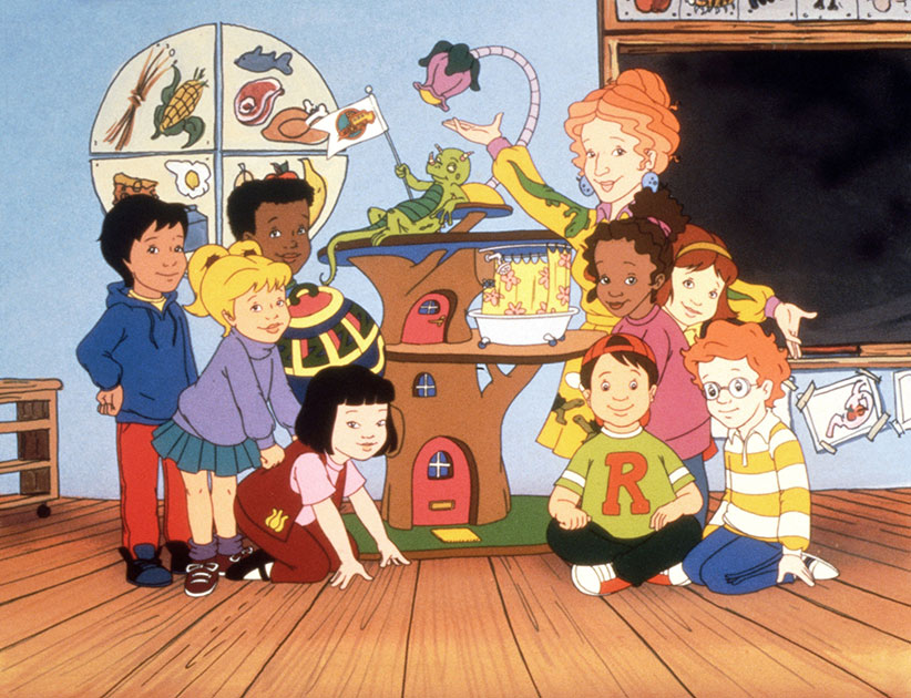 The Magic School Bus. (top row): Liz, Ms. Valerie Frizzle, (middle): Carlos Ramon, Tim Jamal, Keesha Franklin, Phoebe Terese, (bottom): Dorothy Ann, Wanda Li, Ralphie Tennelli, Arnold Pearlstein, 1994-97. (Nelvana/Everett Collection)