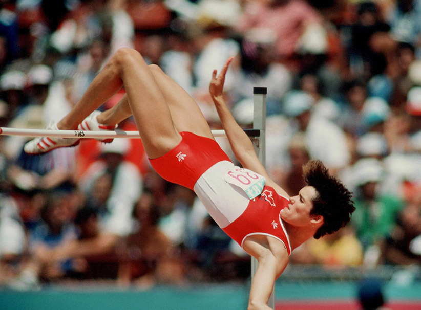 Canada's Debbie Brill competes in the high jump at the 1984 Olympic games in Los Angeles. (COC/JM/CP)