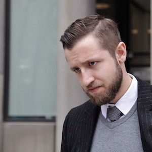 Vice Media reporter Ben Makuch leaves Ontario Superior Court in Toronto on Monday, Feb. 29, 2016. RCMP are trying to force Vice to turn over materials related to interviews Makuch did in 2014 with suspected terrorist, Farah Shirdon, of Calgary. THE CANADIAN PRESS/Colin Perkel