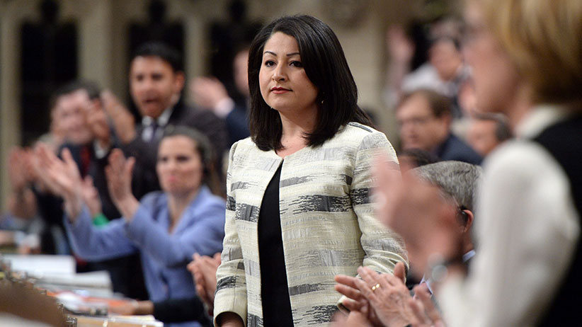 Democratic Institutions Minister Maryam Monsef is applauded by her party as she responds to a question during question period in the House of Commons on Parliament Hill in Ottawa on Wednesday, May 11, 2016. (Sean Kilpatrick/CP)