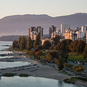 A scenic view at twilight of Sunset Beach on the West End's waterfront, English Bay, Vancouver, B.C. (Bayne Stanley/CP)