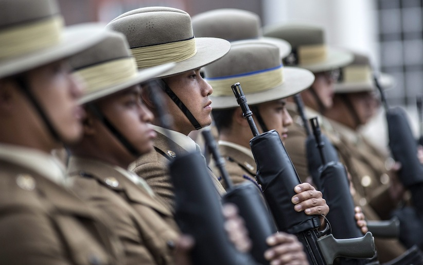 Serving Gurkha soldiers on parade during a pageant to celebrate 200 years of Gurkha service to the British Crown in London, Tuesday, June 9, 2015. (Richard Pohle/Pool via AP)