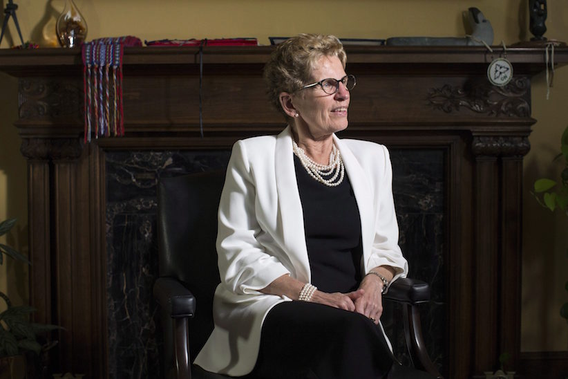 Ontario Premier Kathleen Wynne is photographed in her office in the Queens Park Legislature in Toronto on Thursday, June 9, 2016. Wynne dreams of a rosy future of cleaner air, pensions for all and billions of dollars of gleaming new infrastructure.But she is now halfway through her mandate, and her hopes of re-election in 2018 may depend on voters sharing her long-term view. THE CANADIAN PRESS/Chris Young