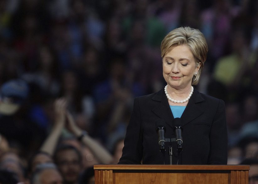 Sen. Hillary Rodham Clinton, D-N.Y., pauses as she speaks at the National Building Museum in Washington, Saturday, June 7, 2008, formally ending campaign to become the first woman president.(AP Photo/Ron Edmonds)