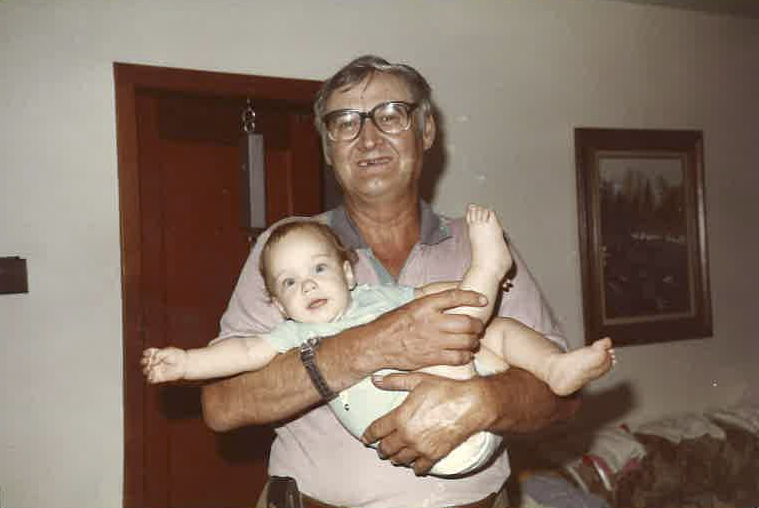 Everett Klippert with his great-niece Sarah Griebel. After he died in 1996, Klippert's remains were taken to Sarah's parents' homestead near the small town of Castor, Alta. (Photograph courtesy family)