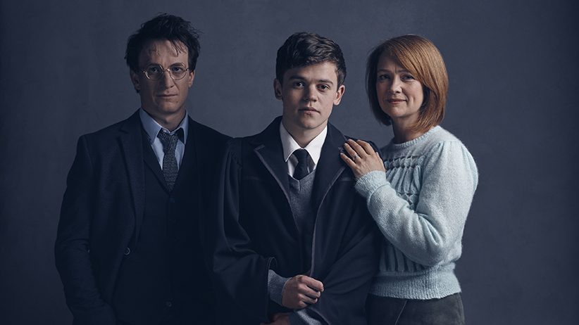 "Portraits of Harry Potter, his son Albus, and his wife Ginny, from the cast of J.K. Rowling's new play, ""Harry Potter and the Cursed Child."" (Handout)"