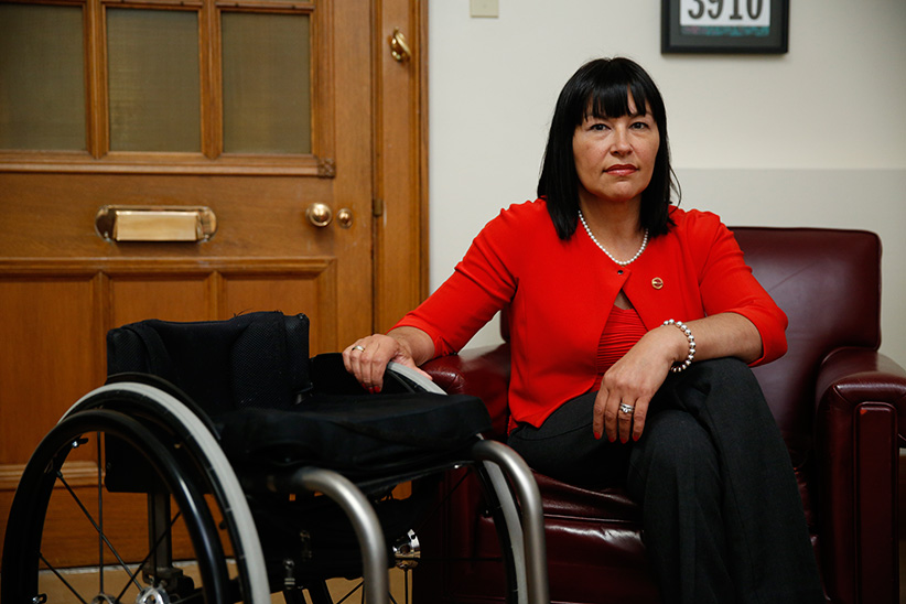 Senator Petitclerc talks about medically assisted dying on Parliament Hill in Ottawa June 8, 2016. (Photograph by Blair Gable)