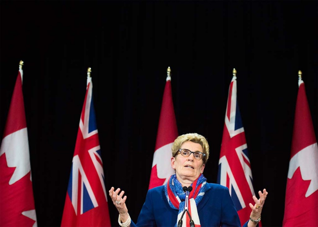 Ontario Premier Kathleen Wynne's speaks during a press conference regarding the political fundraising question at Queen's Park in Toronto on Monday, April 11, 2016. (Nathan Denette/CP)