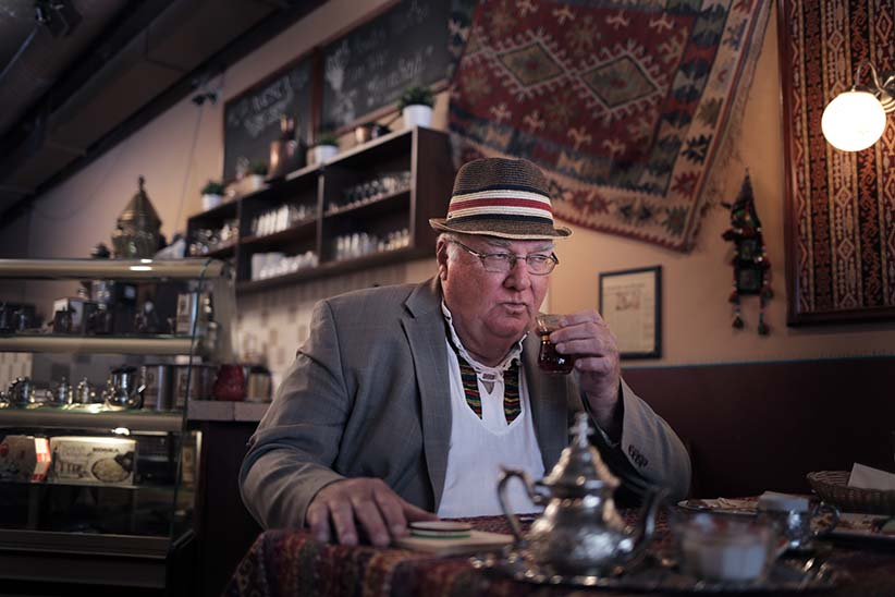 Bruce Mabley photographed at Avesta Turkish-Kurdish restaurant in Montreal. June 20th 2016. (Photograph by Roger Lemoyne)