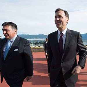 Federal Finance Minister Bill Morneau, centre, and Ontario Finance Minister Charles Sousa, left, attend a meeting of finance ministers in Vancouver, Monday, June 20, 2016. (Jonathan Hayward/CP)