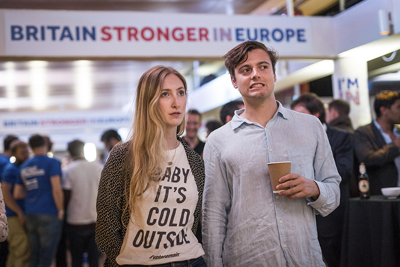 Supporters of the Stronger In campaign react after hearing results in the EU referendum at London's Royal Festival Hall, Friday, June 24, 2016. On Thursday, Britain voted in a national referendum on whether to stay inside the EU. On Thursday, Britain voted in a national referendum on whether to stay inside the EU. (Rob Stothard/AP)