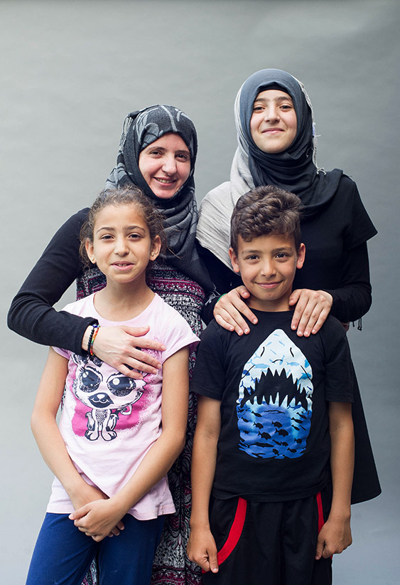 The Alkhalaf family in Peterborough, ON nearly six months following their migration from Syria to Canada. (Photograph by Cole Garside)