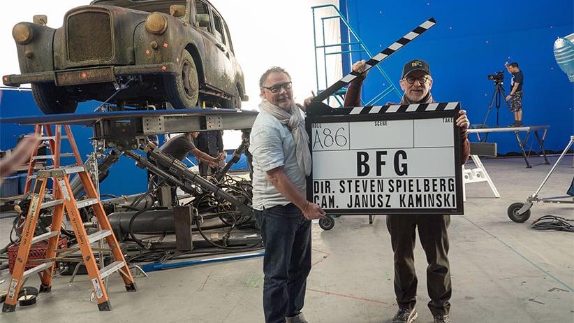 THE BFG, from left: cinematographer Janusz Kaminski, director Steven Spielberg, on set, 2016. Doane Gregory /Walt Disney Co./Everett Collection