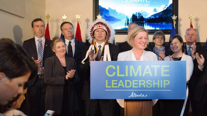Premier Rachel Notley unveils Alberta's climate strategy in Edmonton, Alberta, on Sunday, November 22, 2015. The new plan will include carbon tax and a cap on oilseeds emissions among other strategies. (Amber Bracken/CP)