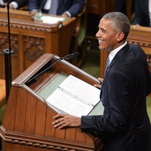 U.S. President Barack Obama addresses the Canadian Parliament in the House of Commons in Ottawa on Wednesday, June 29, 2016. (Adrian Wyld/CP)