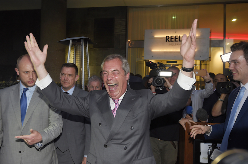 Nigel Farage, the leader of the United Kingdom Independence Party (UKIP), reacts at a Leave.eu party after polling stations closed in the Referendum on the European Union in London, Britain, June 24, 2016. REUTERS/Toby Melville - RTX2HW97